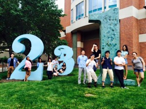 Group standing in front of Number Garden in OSU
